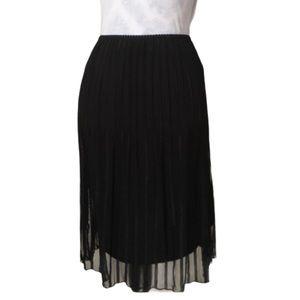 Accordion pleated black chiffon midi skirt